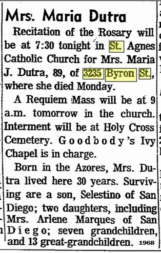 obituary maria dutra
