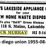 lakeside appliance co, 1955 dick murray